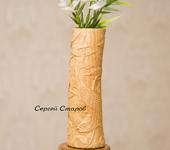 Вазы - Ваза из дерева на подставке.Ваза для сухих цветов.№18