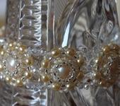 Комплекты украшений - Комплект из клипс и браслета с натуральным и жемчугом сваровски