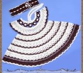 """Одежда для девочек - Детское платье и повязка на голову """"Кофейная феечка"""""""