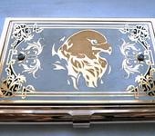 """Другие аксессуары - Подарочная позолоченная визитница ручной работы с фианитами """"Орёл"""""""