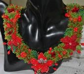 Колье, бусы - Колье из бисера и бусин Цветы на лужайке