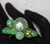 Комплекты украшений - Кольцо с японской бусиной тенша. ониксом Каллы