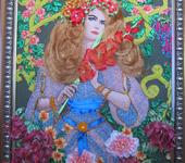 """Вышитые картины - Картина """"Девушка с гладиолусом"""""""
