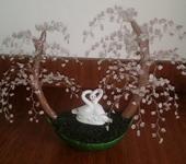 Подарки на свадьбу - Драгоценное дерево счастья из розового кварца «Белые лебеди»