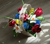 Элементы интерьера - Корзина с весенними цветами ручной работы из полимерной глины
