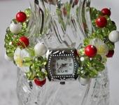 """Комплекты украшений - Часы-браслет с кораллами, агатом, бусинами лэмпворк """"Шиповник"""""""