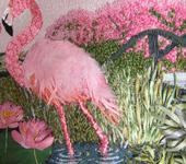 """Вышитые картины - картина """"Розовый фламинго"""""""