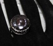 Кольца - Серебряное кольцо с натуральным жемчугом