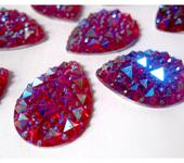 Скрапбукинг - 10шт Стразы 25мм друза пришивные пластик акрил кристаллы капли розовый