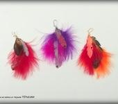 Серьги - Серьги из кожи и перьев