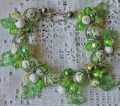 Комплекты украшений - Браслет с японскими бусинами тенша, агатом,зеленым кварцем Каллы