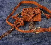 Ремни, пряжки, пояса - Поясок женский с мини- мини клатчем, макраме, ручная работа