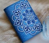 Обложки для паспорта - Обложка на паспорт с мандалами, сине-голубая