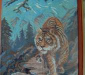 Вышитые картины - Вышитая картина Полосатая кошка