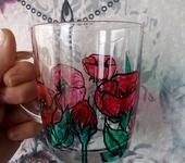 Кружки, чашки - Стеклянная кружечка с маками