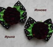 Украшения для волос - Бантики с розами