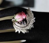 Кольца - Кольцо лэмпворк со стразами Веточка с розой