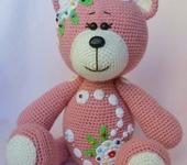 Мишки Тедди - Игрушка вязаная мишка в цветах