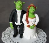 Подарки на свадьбу - Фигурки на торт Шрек и Фиона