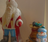 Народные куклы - Ватный Дедушка Мороз и Снеговик
