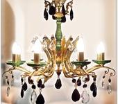 Светильники, люстры - Бронзовая люстра с малахитом AVRORA  art. 06-07