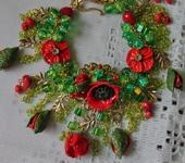 Комплекты украшений - Браслет лэмпворк Маков цвет
