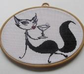 Вышитые картины - Гламурная кошка с коктейлем