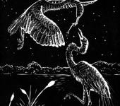 Гравюра - Большие белые цапли линогравюра