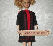 Одежда для кукол - Кукольная одежда 1/6 - костюм красно-черный: платье и пальто