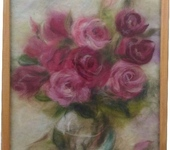 "Живопись - Картина из шерсти ""Аромат роз"""