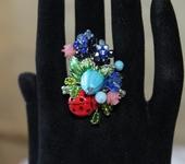 Комплекты украшений - Кольцо лэмпворк цветочное Летний сад
