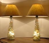 Светильники, люстры - Пара настольных ламп с внутренней подсветкой.