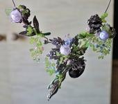 Комплекты украшений - Колье с металлическими цветами и бутонами лэмпворк