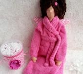 Куклы Тильды - Тильда Банный Ангел в ярко-розовом халате