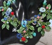 Комплекты украшений - Колье лэмпворк цветочное Летний сад