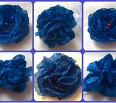 """Броши - Декоративные цветы из текстиля """"Синяя коллекция"""""""
