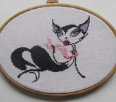 Вышитые картины - Гламурная кошка в шарфике