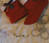 """Обувь ручной работы - Домашние сапожки из флиса """"Санта"""""""