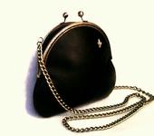 Сумки, рюкзаки - Сумка кожаная чёрная авторская на цепочке