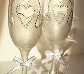 """Бокалы, стаканы, рюмки - Фужеры """"Свадебные"""" (серебро)"""