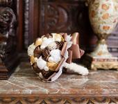 Цветы - Свадебный брошь-букет в коричнево-персиковых тонах