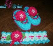 Для новорожденных - Повязка и пинеточки для маленькой красавицы