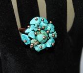 Комплекты украшений - Кольцо с натуральной бирюзой Голубые мечты