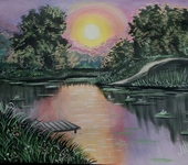 Живопись - Вечер на озере.