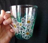 Кружки, чашки - Стеклянная кружечка с ромашками