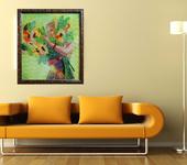 Элементы интерьера - Картина лентами — Девочка с подсолнухами