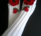 Варежки, митенки, перчатки - Митенки С маками, белые