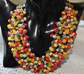 Комплекты украшений - Колье трехрядное из разноцветных бусин Радуга