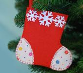 """Подарочная упаковка - Новогодняя упаковка - ёлочная игрушка """"Валенок"""""""