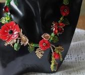 Комплекты украшений - Колье лэмпворк цветочное Маков цвет